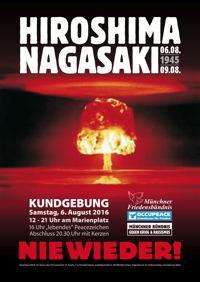 Atompilz - Hiroshimatag München 6.8.2016 Marienplatz Münchner Friedensbündnis